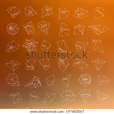 Hipster thin line cosmic background, polygonal triangles and space background - stock vector