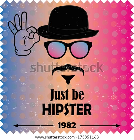 Hipster vector background. Retro vintage label design. Hipster theme label, card. Mustache, Glasses and  Bowler Hat. Colorful. - stock vector
