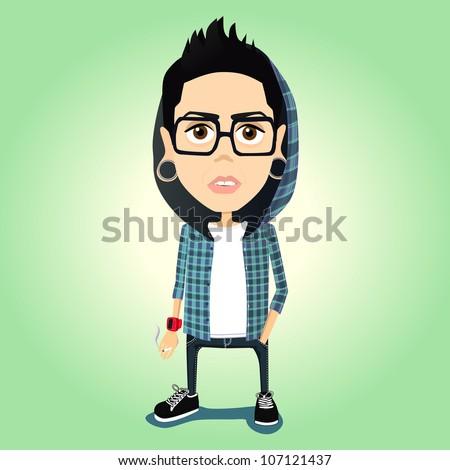 hipster vector illustration - stock vector