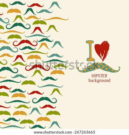 Hipster vintage background with colorful mustache - stock vector