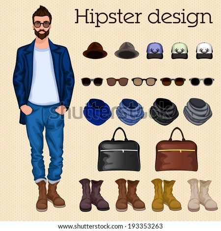 Hipster vintage character pack design elements for male guy with accessory and clothing isolated vector illustration - stock vector