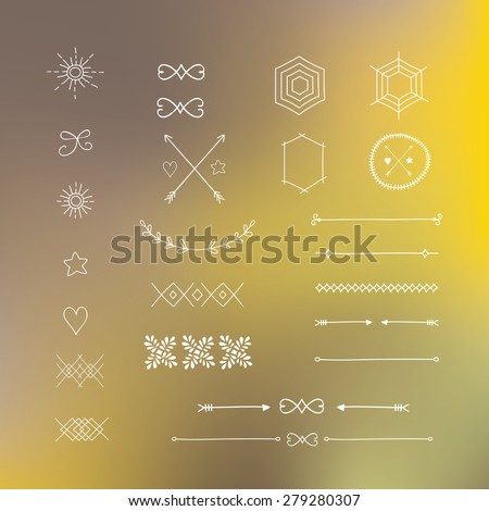 hipster vintage design element with background, hand draw illustration, vector - stock vector