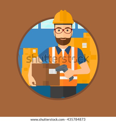 Hipster warehouse worker scanning barcode on box. Warehouse worker checking barcode of box with a scanner. Warehouse worker in hard hat with scanner. Vector flat design illustration in the circle. - stock vector