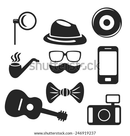 Hipster web and mobile logo icons set. Vector symbols of pipe, camera, guitar etc - stock vector
