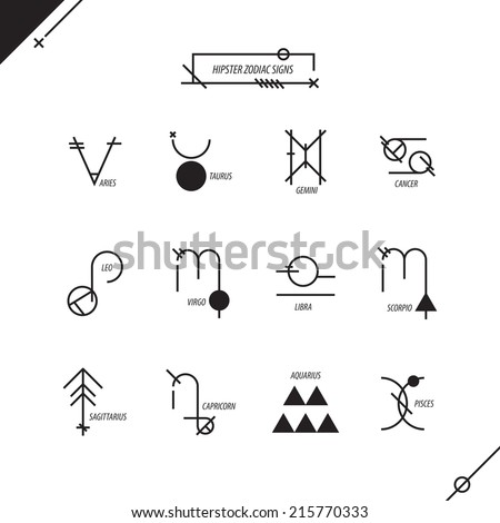 Hipster zodiac signs, black and white - stock vector