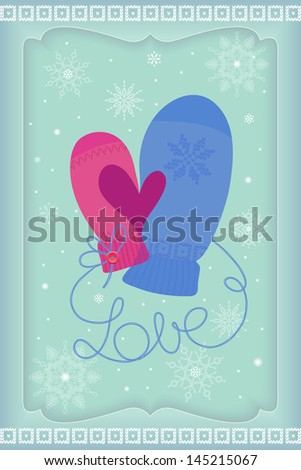 His and Her mittens� thumbs make heart symbol. Season�s Greetings. Vector EPS 10 illustration.   - stock vector