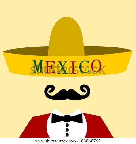 hispanic man wearing Mexico sombrero - stock vector
