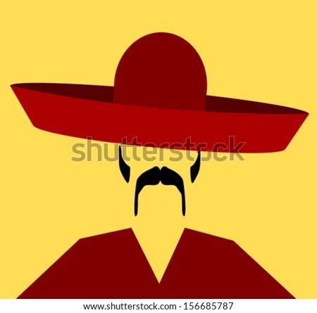 hispanic man wearing sombrero - stock vector