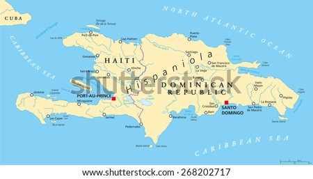 Hispaniola Political Map with Haiti and Dominican Republic, located in Caribbean island group, Greater Antilles. With capitals, national borders, important cities, rivers and lakes. English labeling. - stock vector