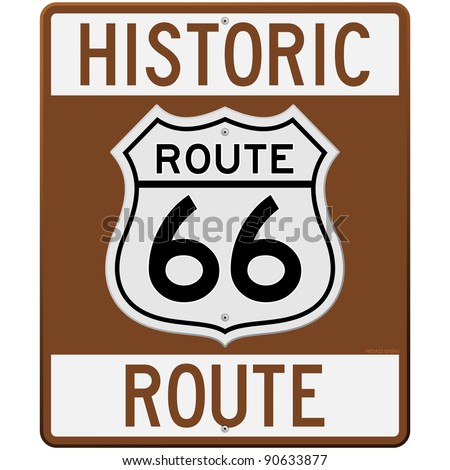 Historic Route 66 Sign - stock vector