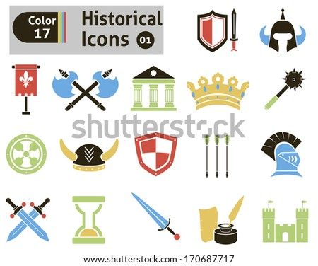 Historical icons. Vector set for your design - stock vector