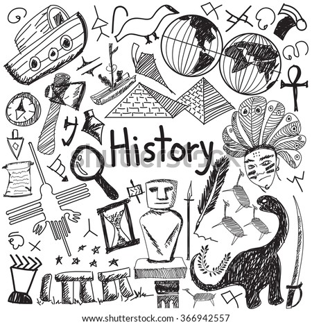History education subject handwriting doodle icon of landmark location culture sign and symbol white isolated background paper used for presentation title with header text, create by vector - stock vector