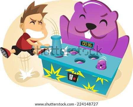 hit the Mole Amusement Park Game cartoon vector illustration - stock vector