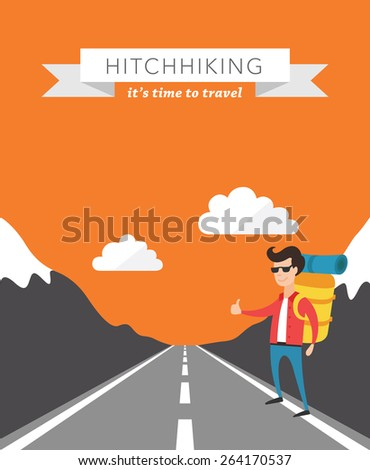 Hitchhiking flat vector background - stock vector