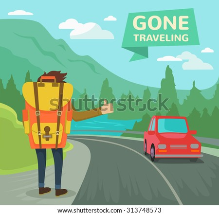 Hitchhiking tourism concept. Vector flat illustration - stock vector
