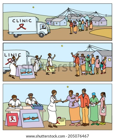 HIV-aids awareness campaign comic strip showing a mobile testing clinic arriving in a rural district, with people gathering to be tested. - stock vector