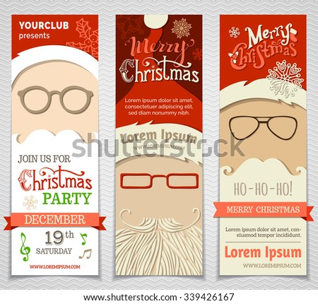 Ho! Ho! Ho! Set of Santa banners. Vector Christmas vertical templates. There is place for your text. - stock vector