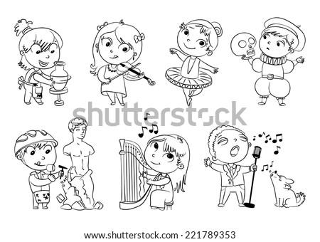 Hobbies and interests. Ballet studio, music school, theater workshop, school of fine arts, sculpture studio. Funny cartoon character. Vector illustration. Coloring book. Set - stock vector