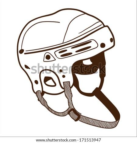 Hockey helmet isolated on white. Sketch vector illustration - stock vector