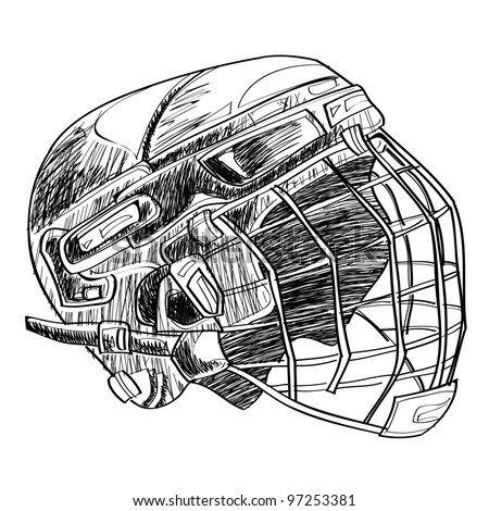 Hockey helmet sketch cartoon vector illustration - stock vector