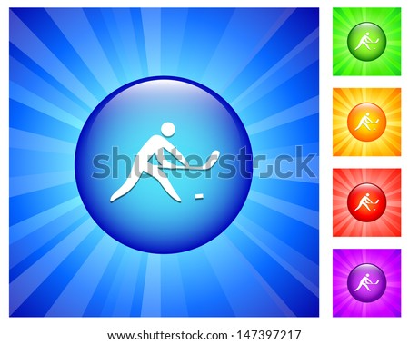 Hockey Icon on Round Button with Blue Glow - stock vector