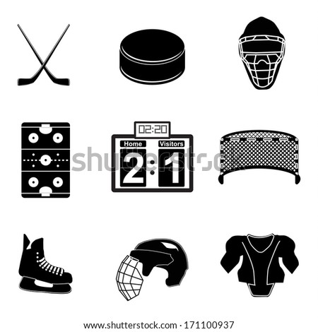 Hockey icons - stock vector