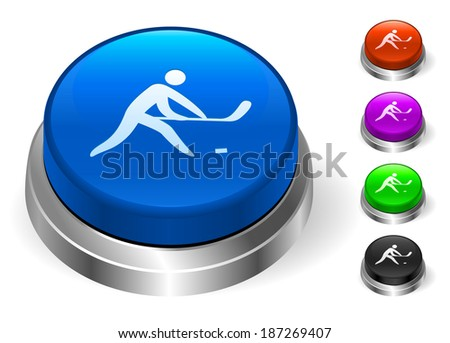 Hockey Icons on Round Button Collection - stock vector