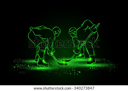Hockey players are preparing for the face-off. Neon style. - stock vector