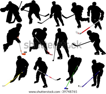 Hockey Players 2 Vector Silhouettes - stock vector