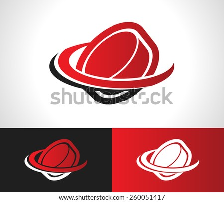 Hockey puck logo icon with swoosh graphic element - stock vector