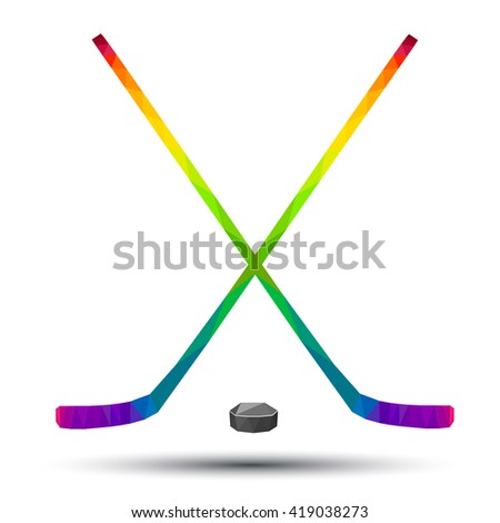 hockey stick and puck as a design logo, icon, vector, art, low poly color style on a white background  - stock vector