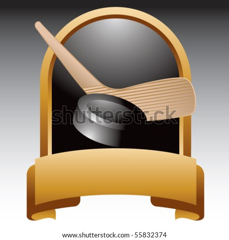 hockey stick and puck gold display - stock vector