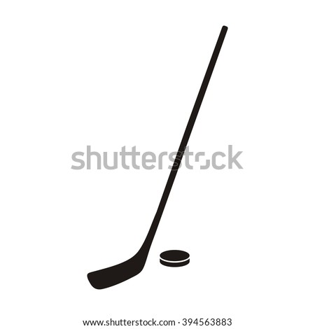 Hockey stick and puck monochrome icon. Hokey puck stick isolated, sport ice icon, game equipment, goal or competition, leisure and activity vector illustration - stock vector