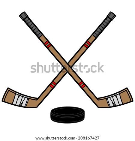 stock-vector-hockey-sticks-and-puck-208167427.jpg 450×470 ...