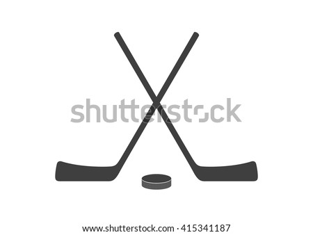 Hockey sticks and puck grey minimal logo design. Vector background - stock vector