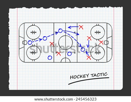 hockey tactic on paper - stock vector