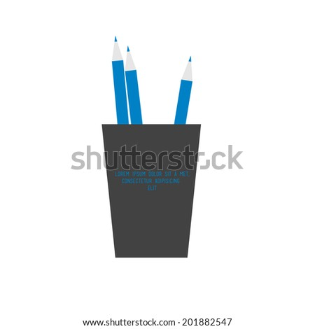 holder with pencils vector sign flat  - stock vector