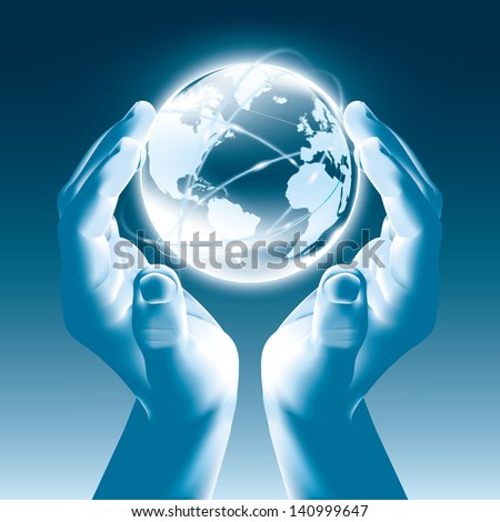 Holding a glowing earth globe in hands - Globalism - stock vector