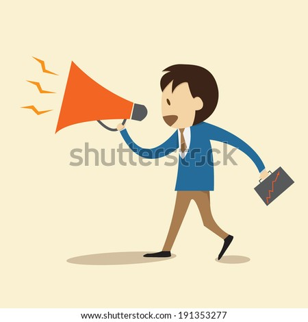 holding a megaphone, promotion marketing concept - stock vector