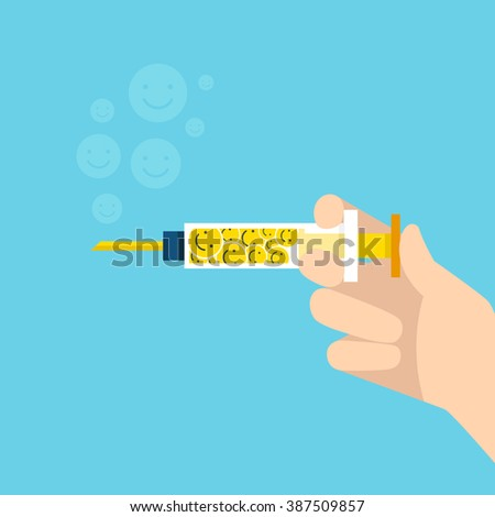 Holding Syringe with happy vaccines in hand, injection, flat Design, Health care and medical concept - stock vector