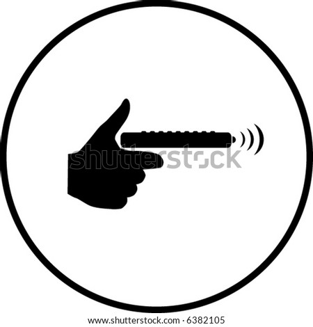 holding the remote control symbol - stock vector