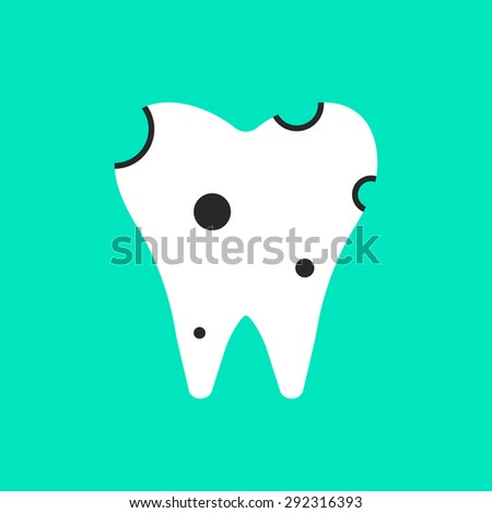 holey white tooth icon. concept of clinic, treatment, carious, stomatological clinic, implant, diagnosis of teeth. isolated on green background. flat style trend modern logo design vector illustration - stock vector
