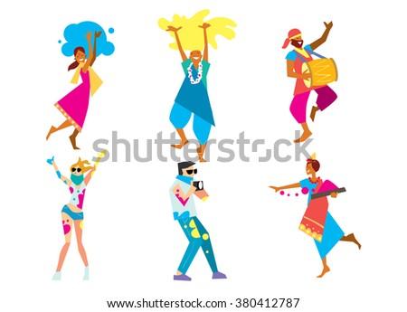 Holi background. Holi vector. Traditional Indian festival Holi. Bengali New Year. Holiday of spring. Holi colorful illustration. Holi holiday. Holi Art. Holi colors. Holi celebration, Happy Holi. - stock vector