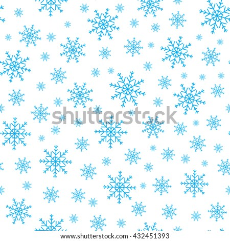 Holiday background, Christmas background, snowflake pattern, snowflake decorations, Christmas Decoration, seamless winter background. Vector illustration. - stock vector