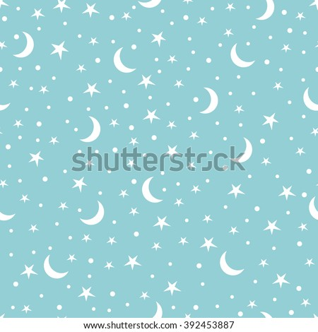 Holiday background, seamless pattern with stars and the moon, star pattern, moon and stars decorations. EPS10 vector illustration. - stock vector