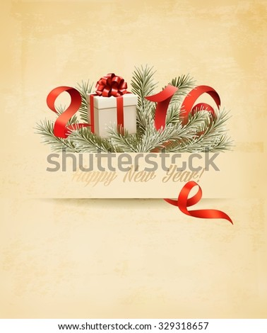 Holiday background with a gift box and 2016. Vector.  - stock vector