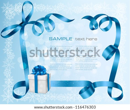 Holiday background with blue gift bow with gift boxes. Vector illustration. - stock vector