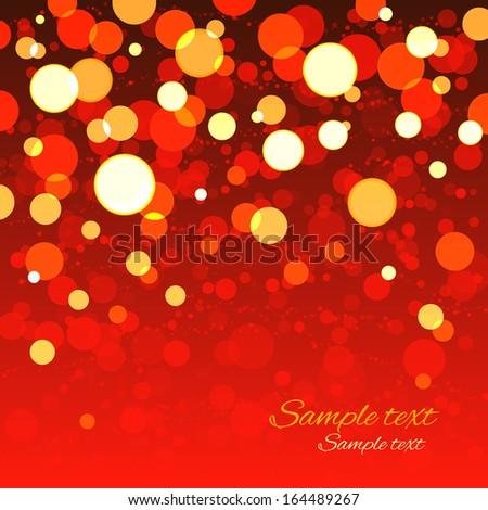 Holiday background with bright shiny lights.Red, gold color - vector - stock vector
