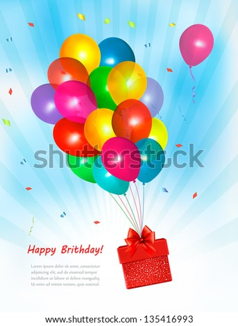 Holiday background with colorful balloons and gift box. Vector - stock vector