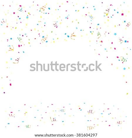 Holiday background with colorful confetti and tinsel, illustration. - stock vector